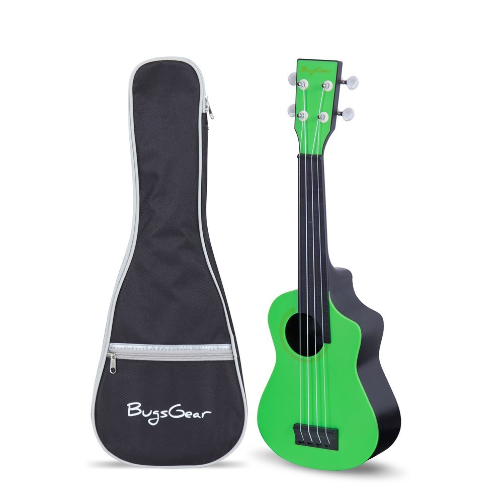 Bugs Gear RPNS-GRN Portable Outdoor Kid Friendly 18 Fret Soprano Aqulele Water Resistant Ukulele with Case, Green/Black