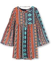 Big Girls' Printed Babydoll Bell Sleeve with Smocking Dress