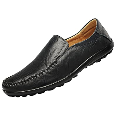9cbb00d8449 JIONS Mens Dress Shoes Driving Moccasins Leather Loafers Slip-On Casual  Boat Shoes A Black