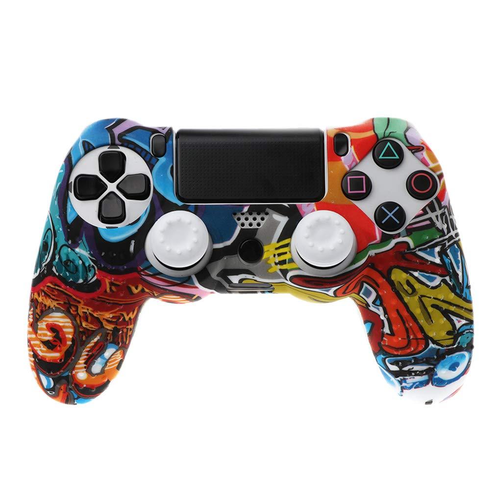 Duyummy Rutschfeste Weiß e Silikon-Hü lle Mit Griffkappe Fü r Playstation PS4-Controller