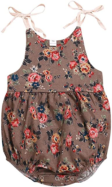 Newborn Infant Baby Summer Sleeveless Cotton O-Neck Floral Rompers Jumpsuits