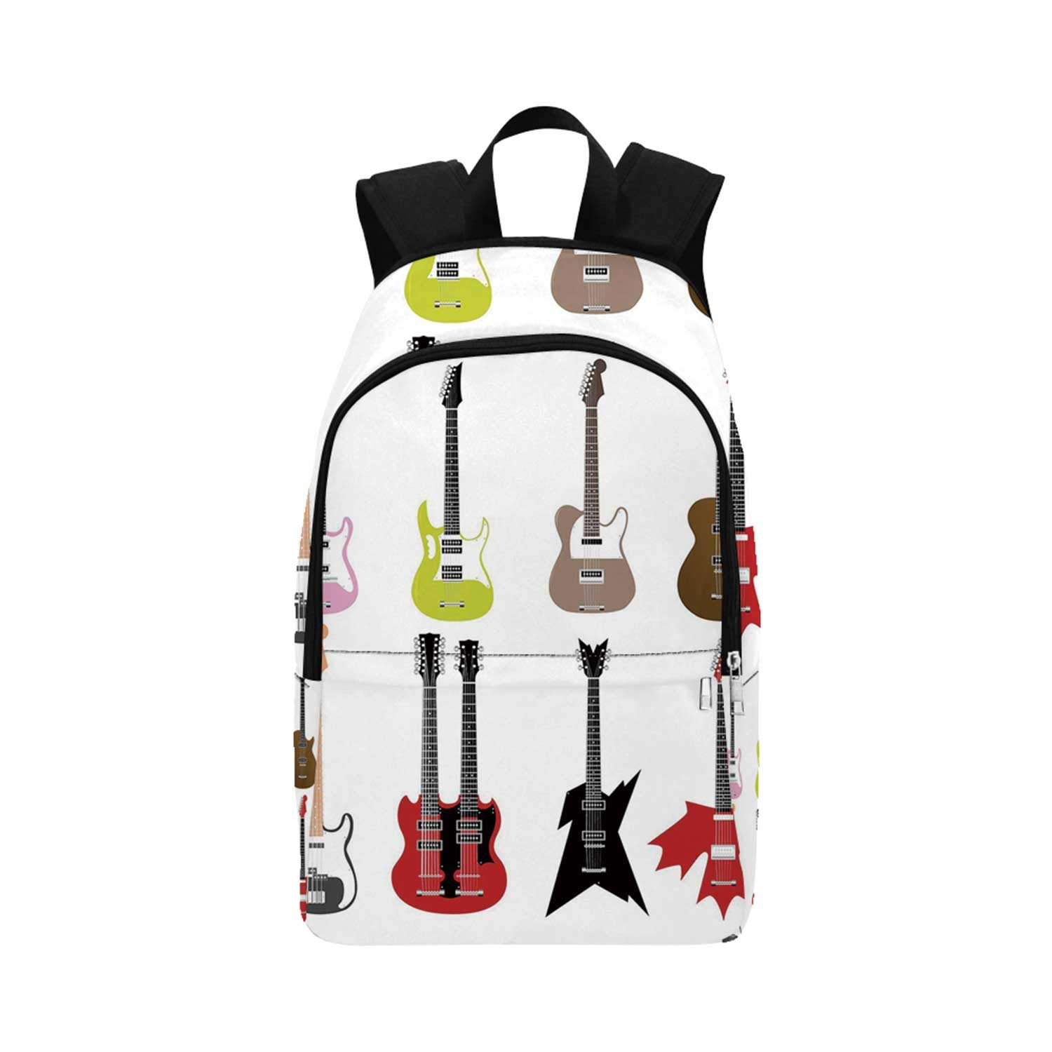 Guitar Durable Backpack,Graphic Collection of Guitars Colorful Stringed Instruments Fretboard Rock Blues Decorative for Adults,11.81''L x 5.51''W x 17.72''H by YOLIYANA