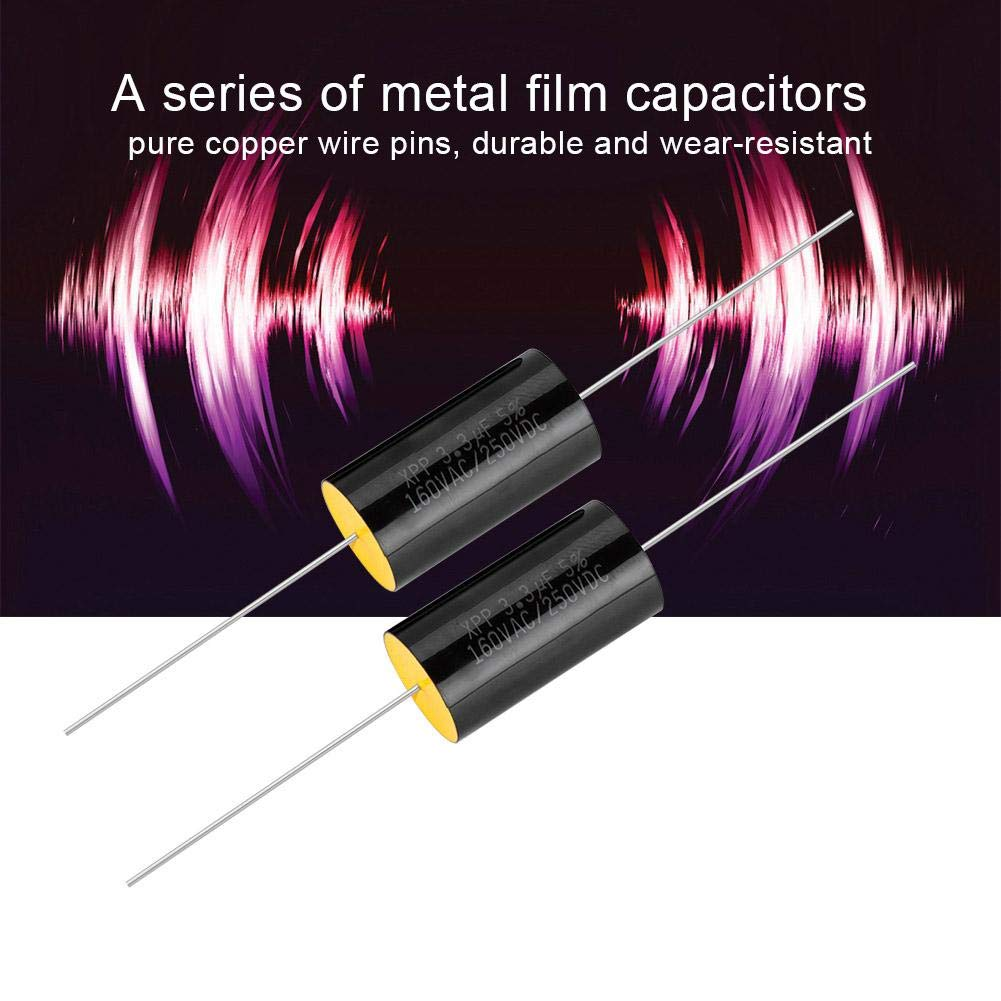 Lazmin 2Pcs Capacitor Frequency Divider DC 250V 1uF//2.2uF//3.3//uF Film Capacitor for Audio Divider 3.3uf