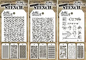 tim holtz nine mini layering stencils herringbone countdown blocks scribbles. Black Bedroom Furniture Sets. Home Design Ideas