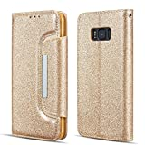 UEEBAI Case for Galaxy S7 Edge,Luxury Bling Glitter Case [Big Magnetic Buckle] [Card Slots] Stand Funtion [Support Wireless Charging] PU Leather Flip Wallet Cover for Samsung Galaxy S7 Edge - Gold