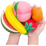 MMTX Slow Rising Jumbo Fruit Squishy Sandía, Melocotón, Fresa, Plátano y Naranja Kawaii Crema Perfumada Juguetes para el Alivio del Estrés para Artículos de Regalo