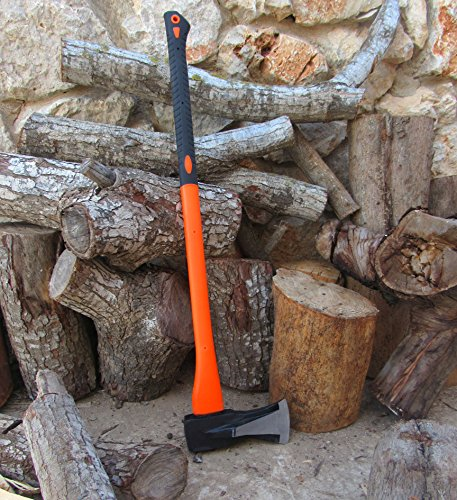 "TABOR TOOLS Splitting Axe, Wood Splitting Maul with Strong Fiberglass Handle and Anti-Slip Grip. J55A. (Splitting Axe, 32"" Handle)"
