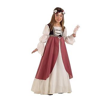Lima - Disfraz de doncella medieval infantil, talla 7-9 años (MI389)
