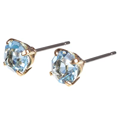 473702f4687 16k Gold Plated Stud with Swarovski Crystal and Titanium Post Earrings by  Zoetik