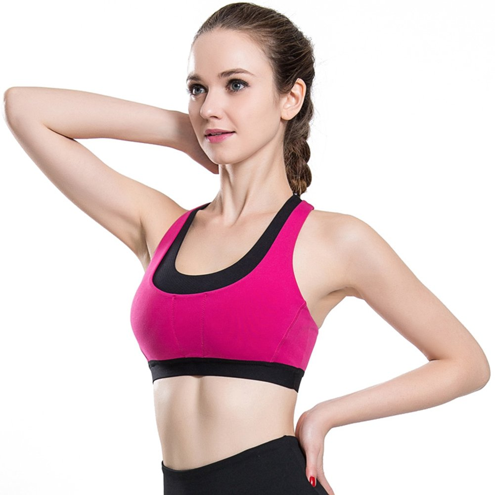c306e69a2b MU MU Women s High Impact Support Wirefree Seamless Workout Racerback  Sports Yoga Bra Top Gym Fitness Bra at Amazon Women s Clothing store