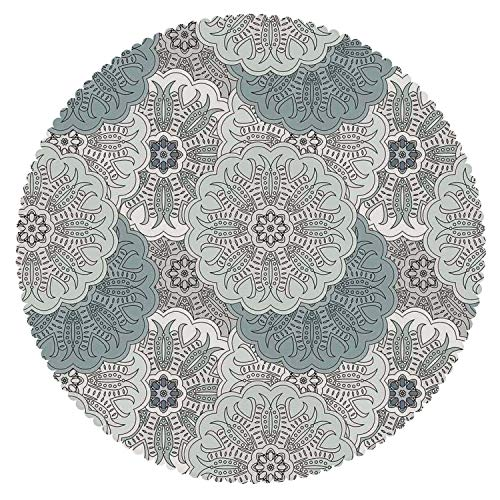 iPrint American Round Tablecloth [ Grey,Arabesque Tile Art Mandala with Oriental Touch Eastern Style Tribal Ethnic Spiritual Motif Decorative,Blue ] Home Accessories Set