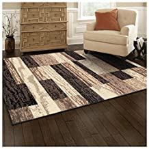 Superior Modern Rockwood Collection Area Rug, Chocolate, 8' x 10'