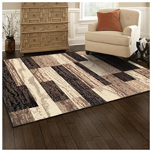 Superior Modern Rockwood Collection Area Rug, 8mm Pile Height with Jute Backing, Textured Geometric Brick Design, Anti-Static, Water-Repellent Rugs - Chocolate, 5' x 8' Rug (And Rug Tan Brown)
