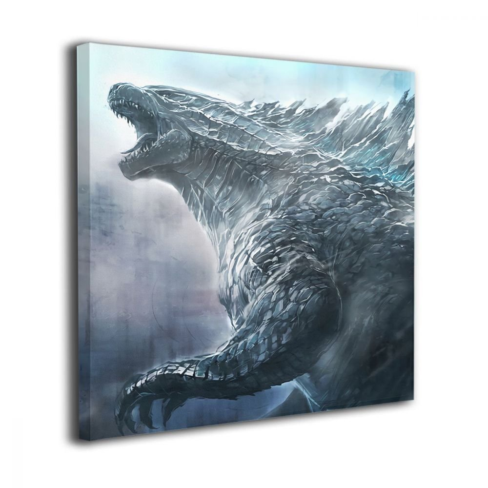 Little Monster Godzilla Thunder Framed Oil Paintings On Canvas Decorations Funny Art for Boys and Girls Bedroom Living Room 12''x12''
