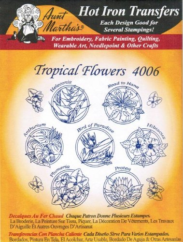 (Tropical Flowers Aunt Martha's Hot Iron Embroidery Transfer)