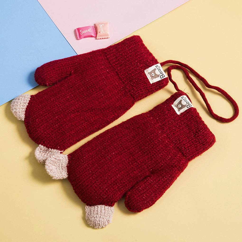 Boys Girls Cute Bear Winter Mittens Thick Fleece Lined Knit Gloves with Neck Hang String Full Finger Warm Ski Gloves Cold Weather Outdoor Hand Warmer Wear for Kids Ages 1 to 4