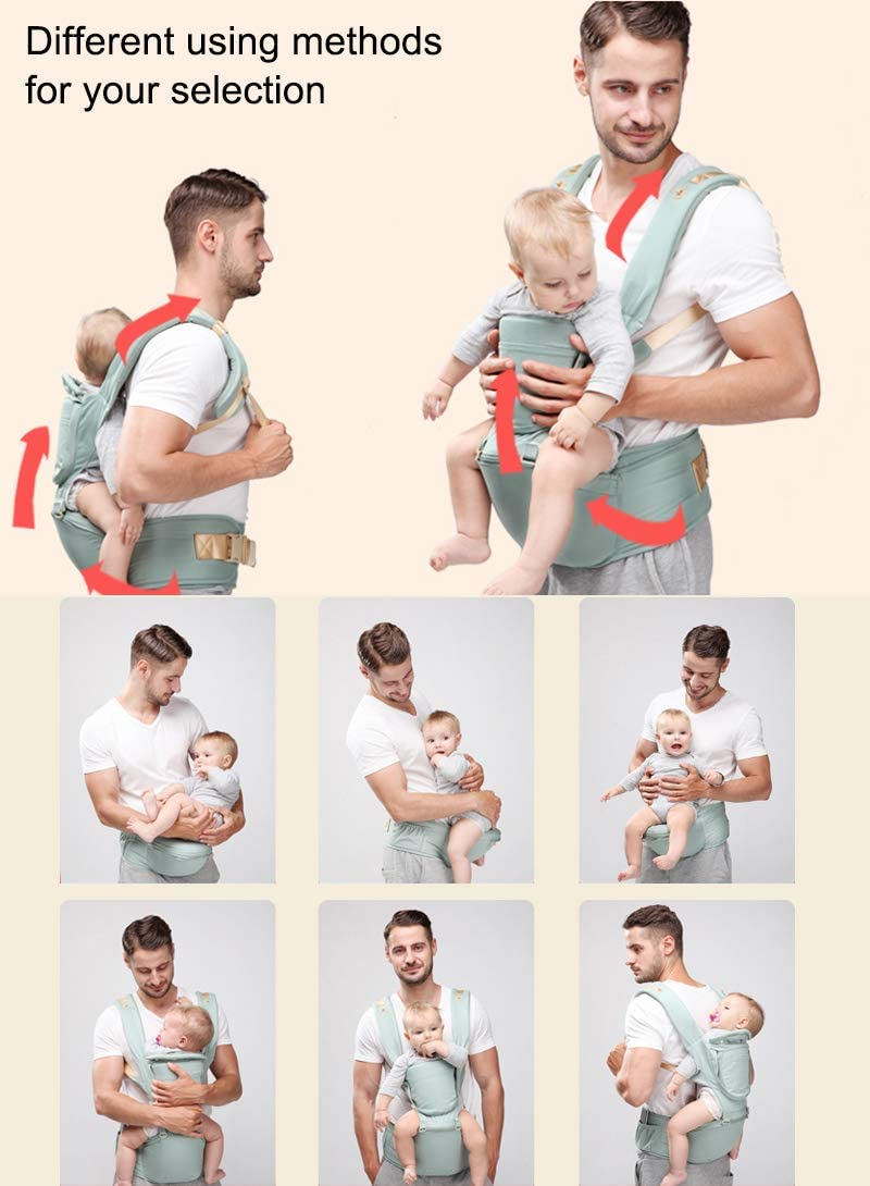 ThreeH Baby Carrier with Hip Seat All Carry Positions Soft Ergonomic Infant Carrier with Hood and Outdoor Travel Waist Stool BC28 Pink