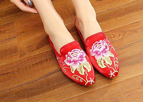 Avacostume Damesschoenen Met Puntige Neus En Platte Onderkant Pantoffels Rood