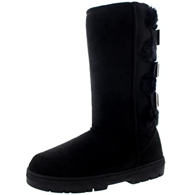 6423de22e Holly Womens Waterproof Long Winter Shoe Buckle Mid Calf Snow Boots -  Black/Black -