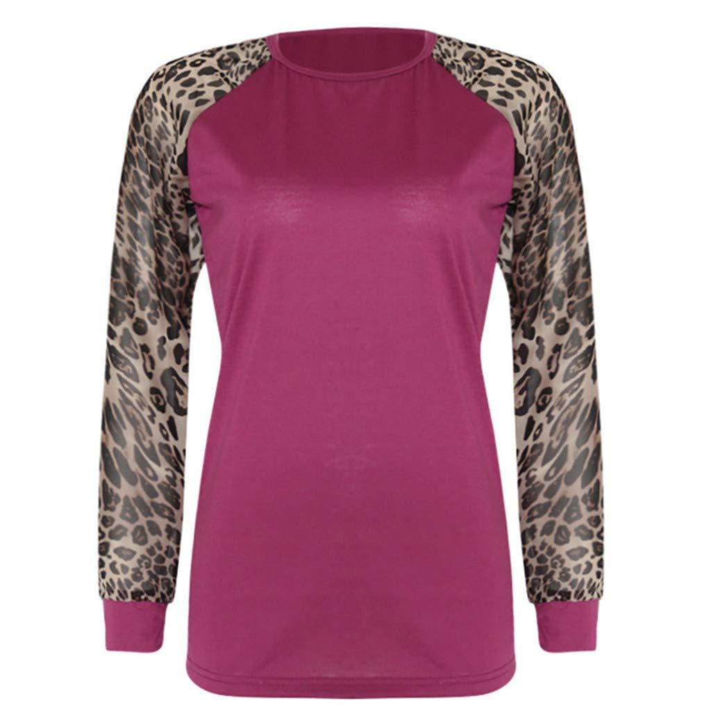 Women/'s Long Sleeve Leopard Print Patchwork T-Shirt Blouse Ladies Oversize Tops