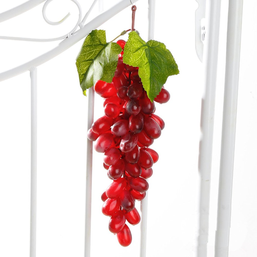 TAIXI A bunch of Fake Grapes Decor Artificial Grape Simulation Grape whith Green Leaves Natural Look