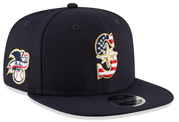 new product 13423 0252e Image Unavailable. Image not available for. Color  New Era Authentic, NWT, Seattle  Mariners 4th July Stars   Stripes Snapback Hat Navy