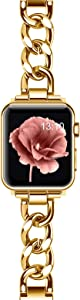 EverSnows Stainless Steel Bands Compatible for Apple Watch Band 38mm 40mm iWatch SE Series 6/5/4/3/2/1, Dressy Fancy Cowboy Chain Metal Bracelet for Women Man