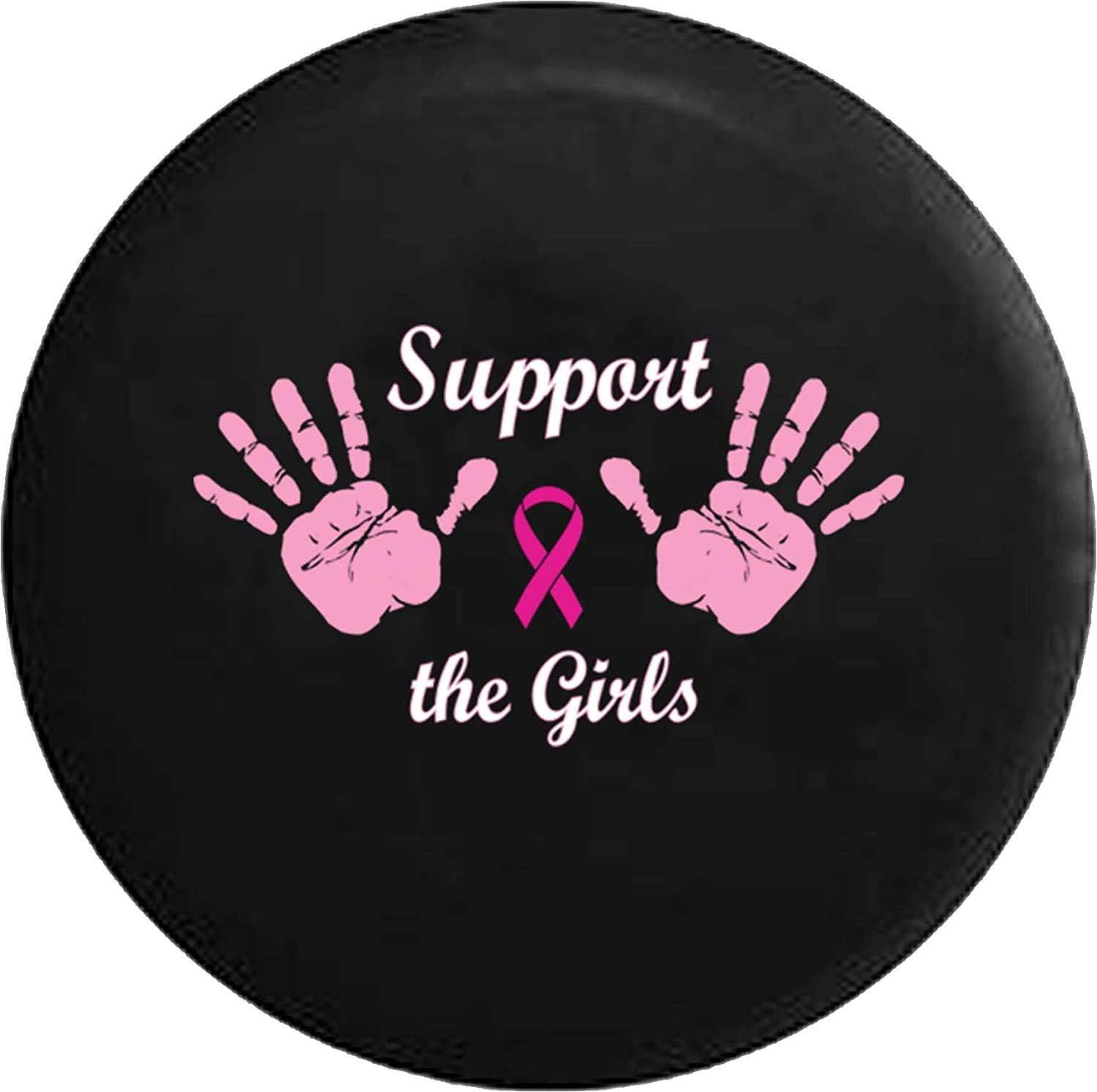 556 Gear Support the Girls Breast Cancer Pink Ribbon Hands Wave Jeep RV Spare Tire Cover Black 35 in