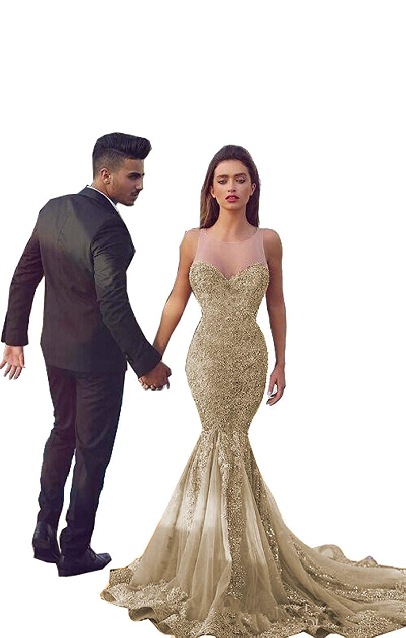 Champagne MariRobe Women's Lace Applique Mermaid Evening Dress Illusion Back Prom Dresses Sequins Evening Gowns Formal Party Gowns