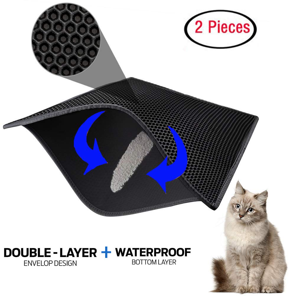 """CDM product ZuHucpts Cat Litter Mat Trapper,Large Size 30'' X 24''(2 Pieces),Double Waterproof Layer Honeycomb Design,Best Scatter Control,Traps Litter Pan from Box and Paws (30"""" x 24""""(2 Pieces), Black) big image"""