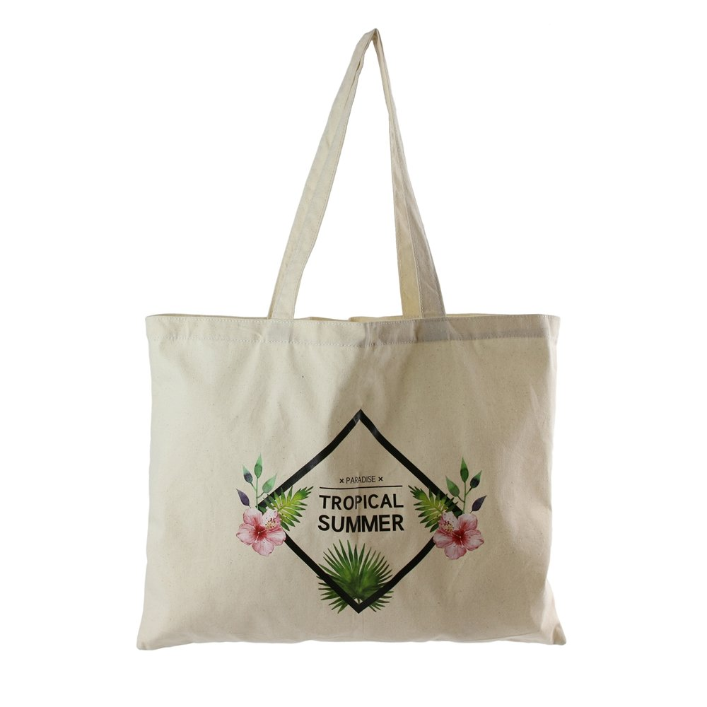 KINEA CONCEPT Tote Bag Coton thème Tropiques, Inscription Tropical Summer, Sac de Courses, Sac de Cours, Sac Cabas KineaConcept