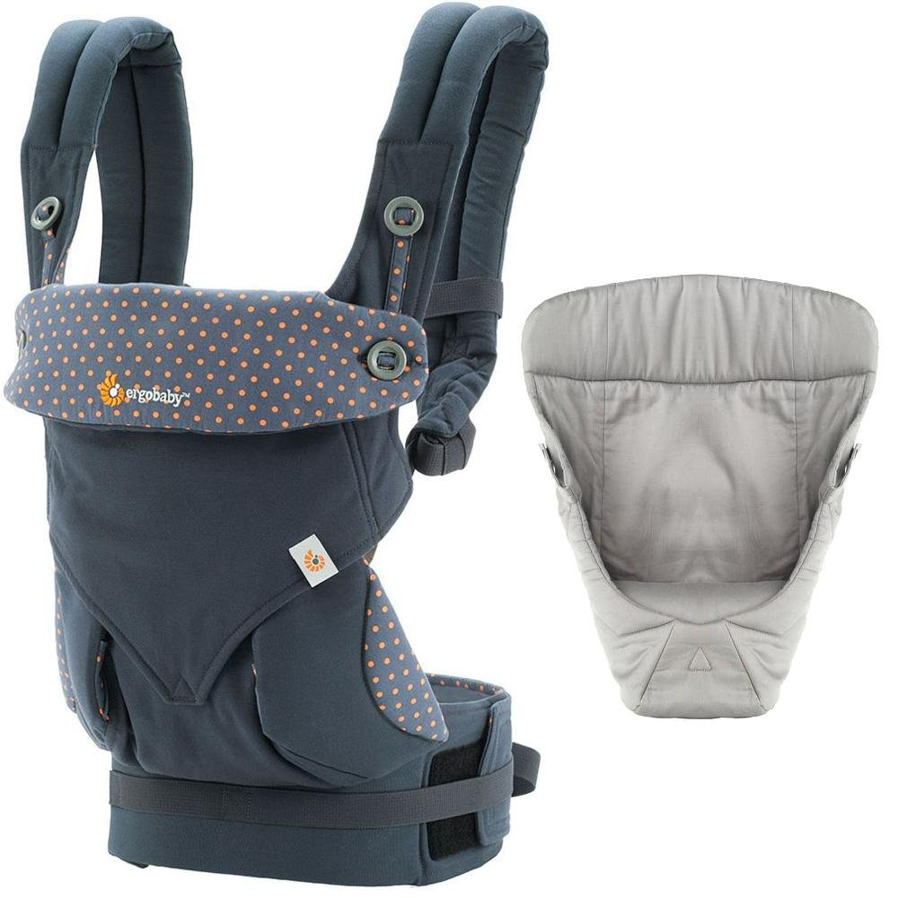 Ergobaby Bundle - 2 Items: Dusty Blue All Carry Position 360 Baby Carrier and Easy Snug Infant Insert Grey