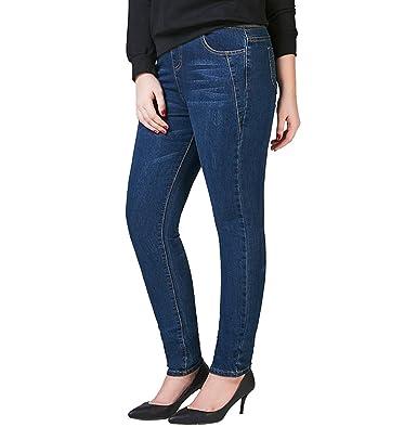 d4a4a6c17aec3 Just for Plus Women s Dark Blue Denim Jeans Elastic Waist Pencil Pants Plus  Size Skinny Slim Fit at Amazon Women s Jeans store