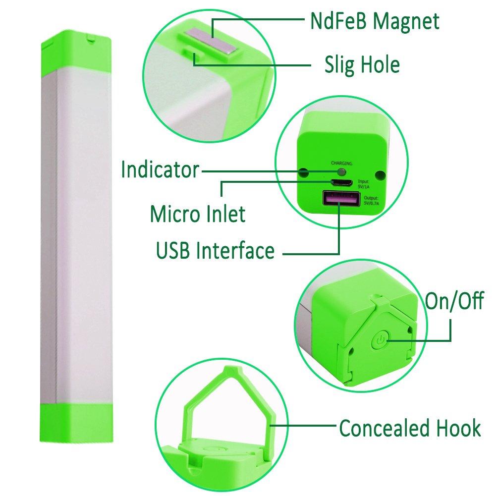 XINBAOHONG Portable LED Camping Light Stick, Emergency Magnetic Work Lamp Lantern, Rechargeable Handy Light for Home Lighting, Outdoor Night Fishing, Hiking,Biking(Green) by XINBAOHONG (Image #2)