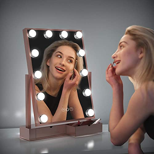 Fenair Makeup Vanity Mirror With Lights -2 Storage Boxes- Large Lighted Vanity Makeup Mirror 47cm x30cm – Hollywood Style,3 Color Lighting Model,360 Rotation,12 Detachable Dimmable Bulbs Rose