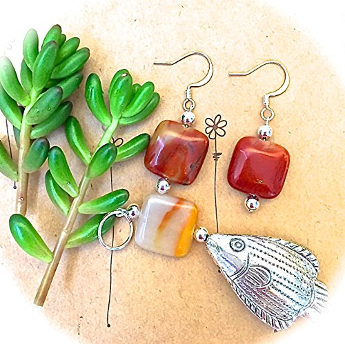 New! Pewter Fish Necklace/Orange/Tan Stones Pendant & Earrings Set/Modern/Trendy/Work/OOAK/Boho/Resort/Beach/Brown Stones Necklace/Fish/Sea (Stone Pendant Pewter)