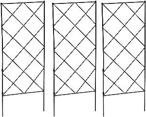 Trellis for Climbing Plants,Climbing Plants,Frame Garden Flower Plant Growing Support Metal Iron Trellis Wall Foldable Black 3pcs