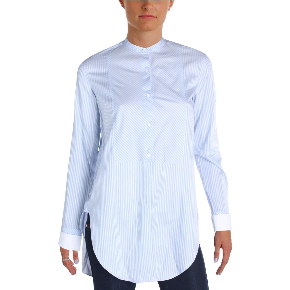 Helmut Lang Womens Striped Long Sleeves Button-Down Top Blue S
