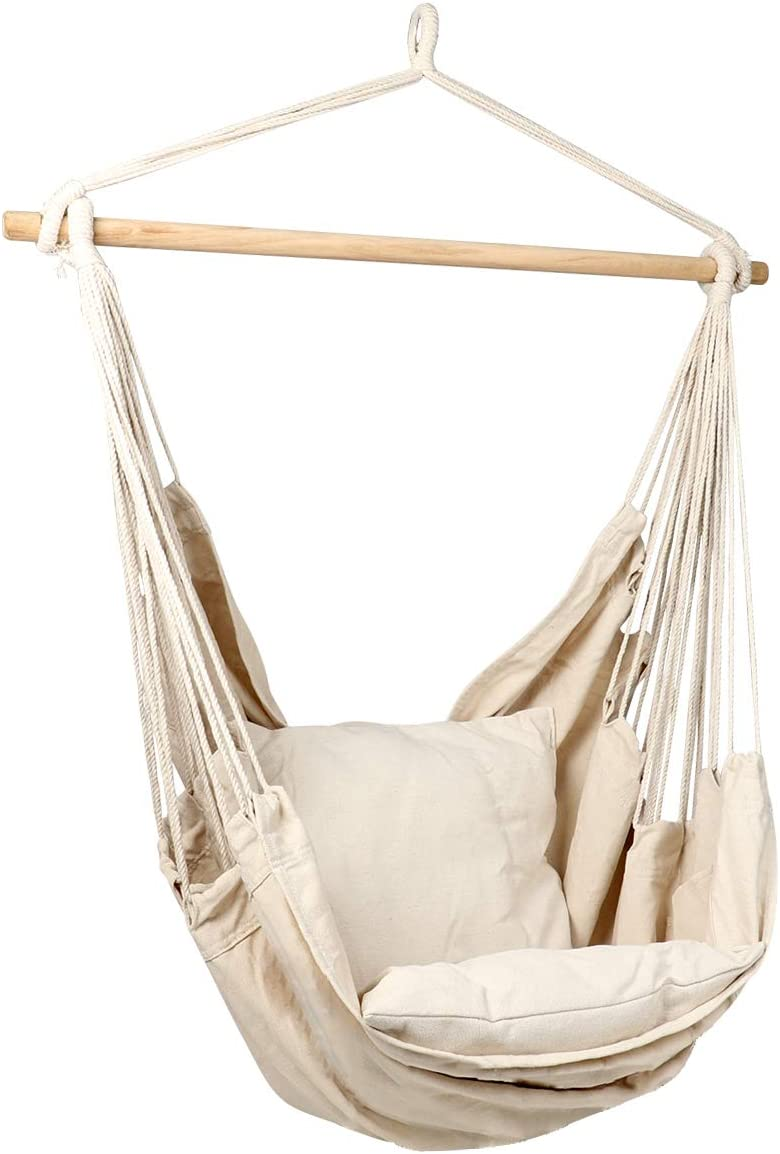 Bormart Hanging Rope Hammock Chair Large Cotton Weave Porch Swing Seat Comfortable and Durable Hanging Chair for Yard, Bedroom, Porch, Indoor, Outdoor – 2 Seat Cushions Included White