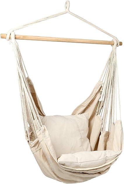 Beige aAugust Tennyson Hanging Rope Hammock Chair Swing 260lbs Capacity for Indoor Outdoor Garden Yard Patio Porch