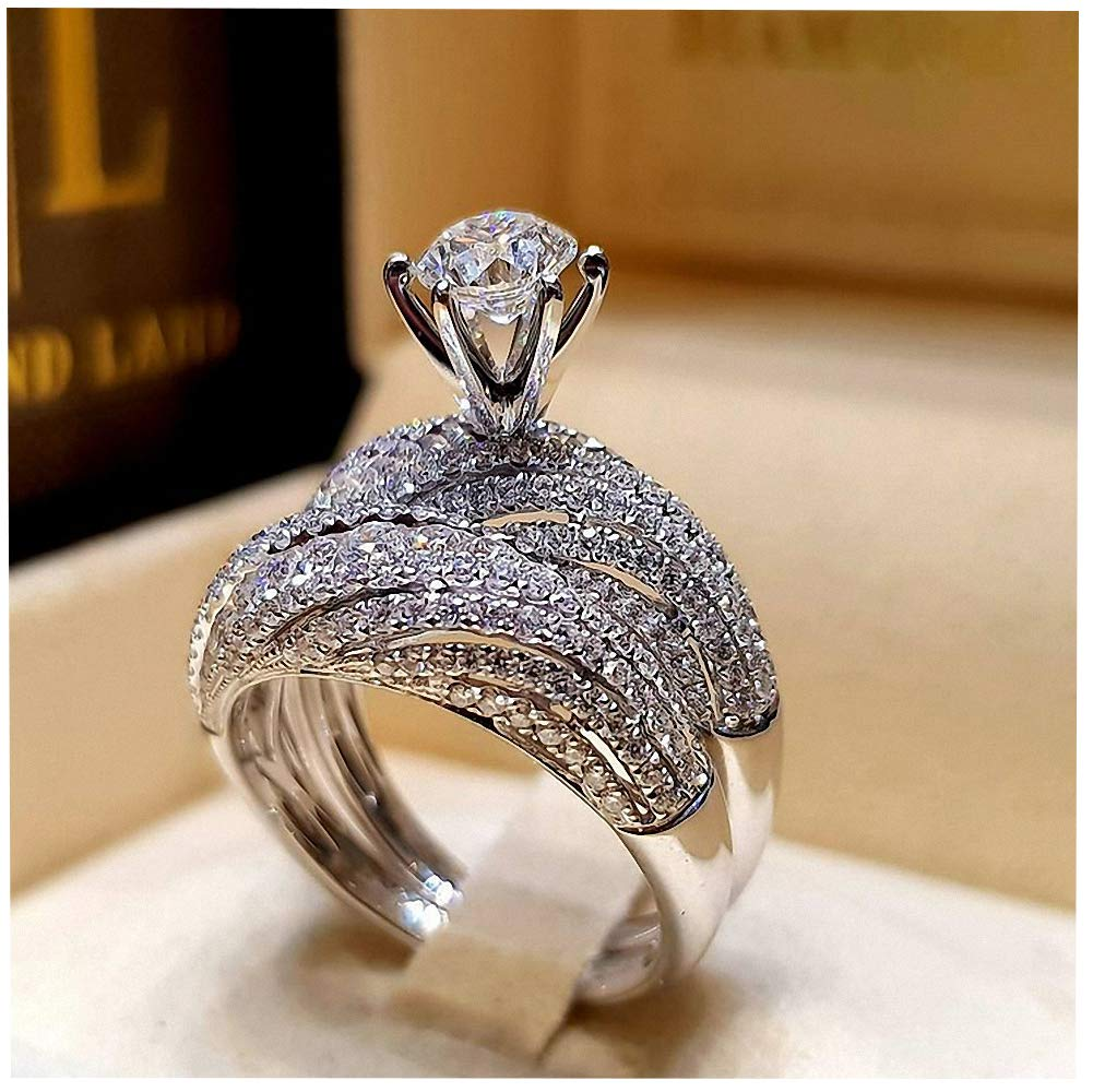 Genuiskid Couple Rings Round Brilliant Men Women Wedding Engagement Ring Band Set Size 5-12 (12)