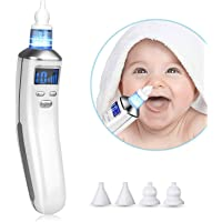Baby Nasal Aspirator - Adjustable Electric Nose Cleaner & Snot Sucker for Newborns Kids Infant - USB Rechargeable with 4 Reusable Tips (2 Sizes) & 5 Suction Levels