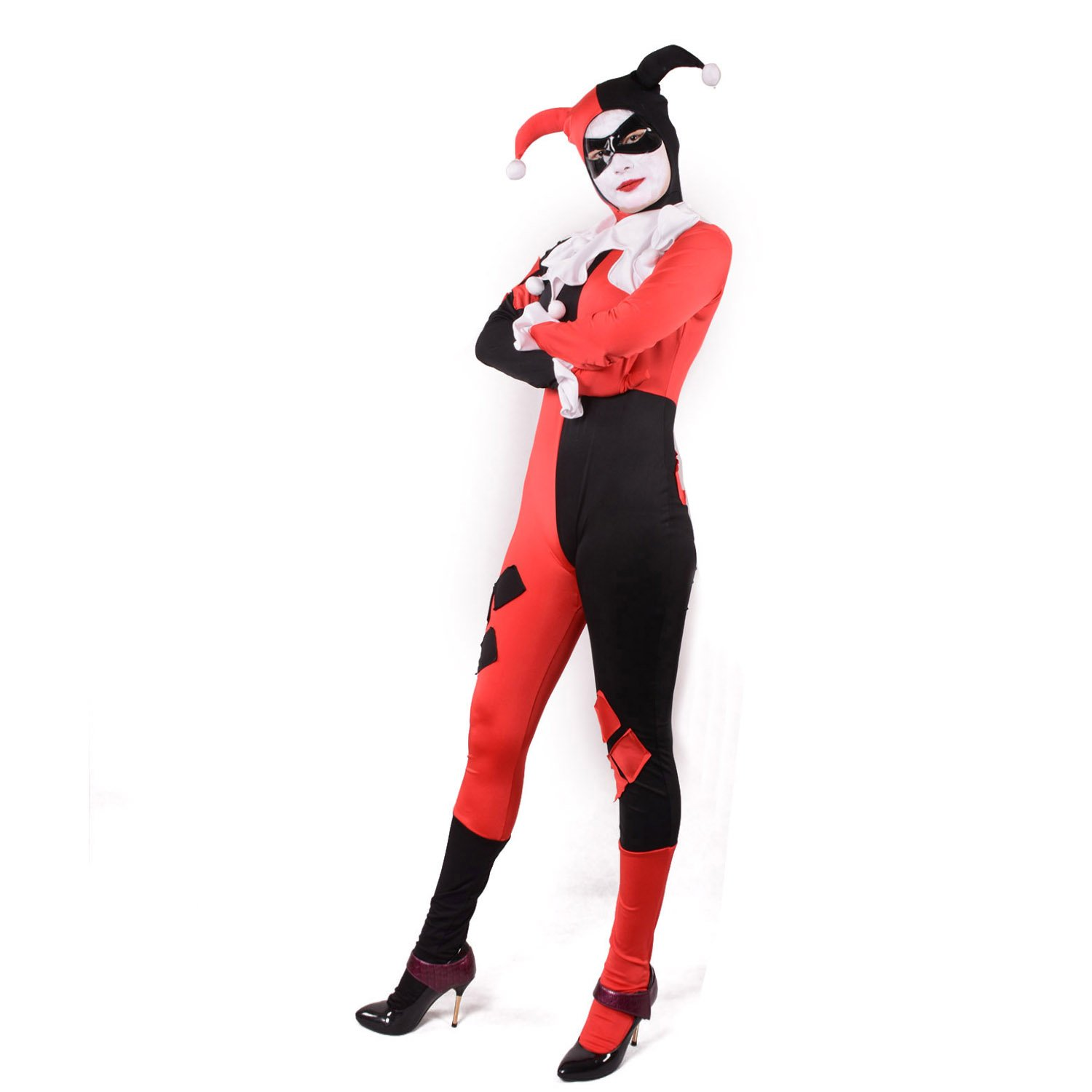 sc 1 st  Amazon.com & Amazon.com: Harley Quinn Costume Bodysuit Catsuit (Large Red): Clothing