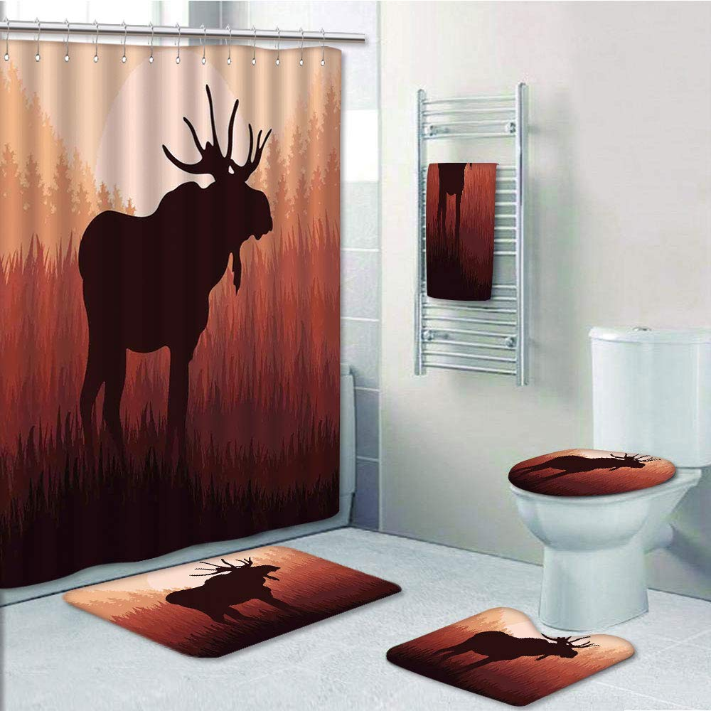 Bathroom Fashion 5 Piece Set shower curtain 3d print,Moose,Antlers in Wild Alaska Forest Rusty Abstract Landscape Design Deer Theme Woods Print,Red Brown,Bath Mat,Bathroom Carpet Rug,Non-Slip,Bath Tow