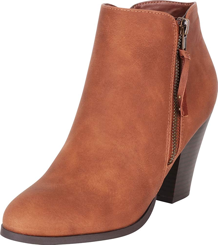 Light Tan Pu Cambridge Select Women's Western Chunky Stacked High Heel Ankle Bootie