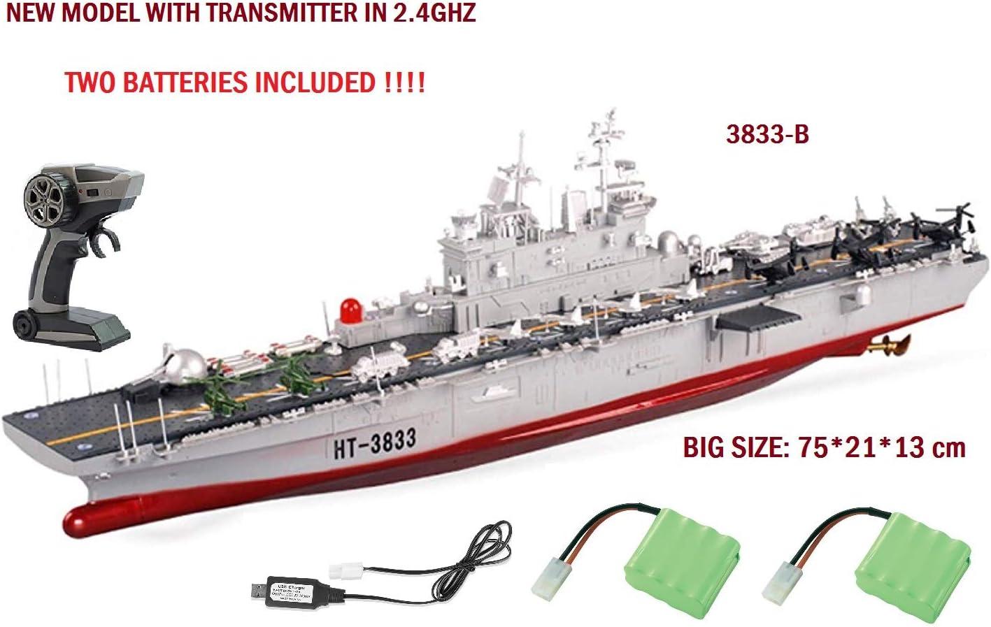 MODELTRONIC Barco Gigante Radio Control Escala 1:350 navío RC Buque de Asalto Anfibio US Wasp HT-3833B con emisora en 2.4G/ Lancha radiocontrol / Barco teledirigido / Incluye 2 x BATERIAS