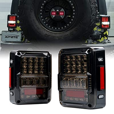 Xprite 4D Smoke Lens LED Tail Lights DOT Approved for 2007-2020 Jeep Wrangler JK JKU, High Intensity Led Rear Taillights w/Parking Light, Brake Turn Signal Lamp and Reverse Lamps Function: Automotive