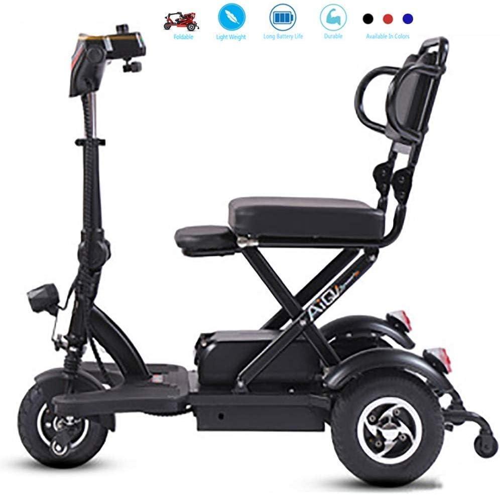 Mini silla de ruedas eléctrica para personas mayores con discapacidades Triciclo eléctrico doméstico Motor de accionamiento diferencial doble Scooter Batería de litio LED iluminado,Negro,35~40km