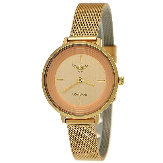Elegante NY London Reloj de mujer Designer Milanaise pulsera de reloj plano analógico clásico de cuarzo reloj oro: Amazon.es: Relojes