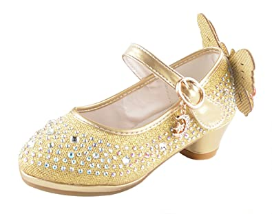 Eozy Kinder Mädchen Glitzer Prinzessin Schuhe Festliche Absatz Schuhe Pumps für Party Hochzeit Gold EU25=27 wayKDDFpG2